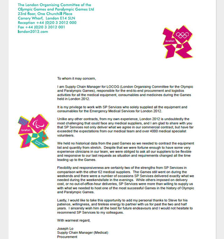 Thank you letter for SP Services supply of medical equipment and consumables to the London 2012 Olympic and Paralympic games